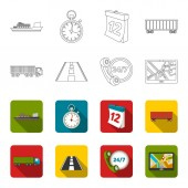Round the clock road truck JPSLoqisticset collection icons in outlineflet style vector symbol stock illustration web