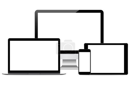 modern technology device vector drawing on white background