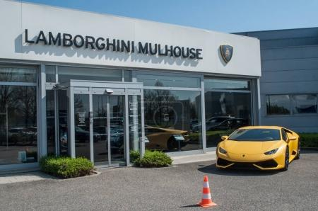 garage  of the brand Lamborghini  french alsatian showroom in Mulhouse