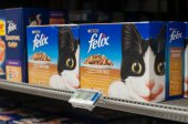 closeup of Felix packets the french brand of cat food in Cora supermarket