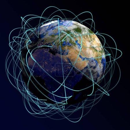 """Photo pour Internet Concept of global business. Principales routes aériennes en Europe, Afrique, Asie. 3d rendu. """"Eléments de cette image fournis par la NASA """" - image libre de droit"""