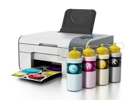 CMYK ink filling bottles and inkjet printer. 3D illustration
