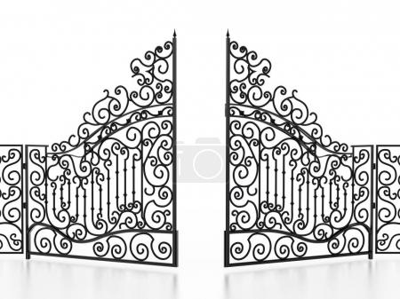 Photo for Wrought iron gate isolated on white background. 3D illustration. - Royalty Free Image