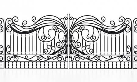 Wrought iron gate isolated on white background. 3D illustration