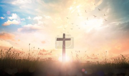 Photo for Good Friday concept: The cross on meadow autumn sunrise background - Royalty Free Image