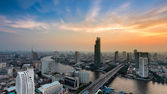 Dramatic after sunset sky, aerial view Bangkok river curved