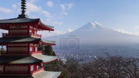 Fuji mountain behind red pagoda temple
