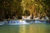 Natural deep forest waterfall in national park of Thailand, natural landscape background