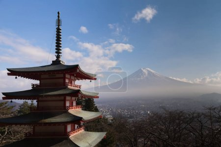 Fuji Mountain behind red pagoda