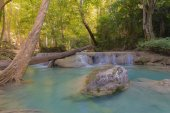Deep forest natural blue stream waterfalls
