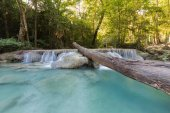 Natural stream waterfall in deep forest tropical jungle