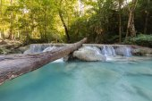 Deep tropical forest waterfall