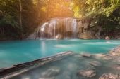 Waterfall blue stream in tropical deep jungle