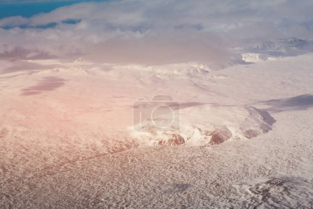 Winter season snow covered aerial view, Iceland natural landscape background