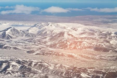 Aerial view Iceland mountaing landscpe winter season, natural landscape background