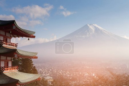 Fuji mountain with behind red pagoda and residence downtown aerial view, Japan