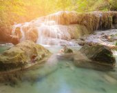 Tropical natural forest waterfall in national park, landscape background