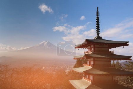 Fuji mountain behind red buddihm temple, Japan natural landscape background
