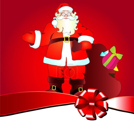 Photo for Christmas card with Santa Claus and bag with gift - Royalty Free Image
