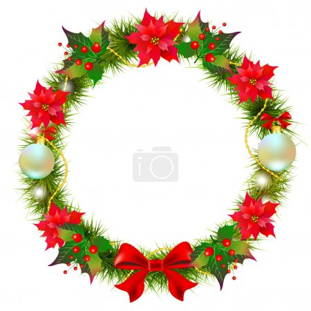 Photo for Christmas wreath with poinsettia  and cotton flowers isolated on white background - Royalty Free Image