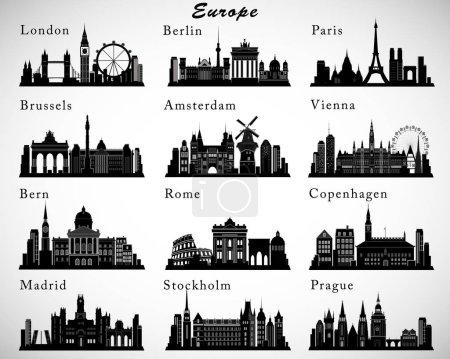 Photo pour Villes européennes skylines ensemble. Silhouettes vectorielles - image libre de droit