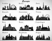 European Cities skylines set Vector silhouettes