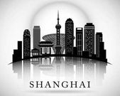 Moderní design panorama města Šanghaj. Čína