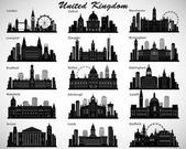 Britain's cities skylines set Vector silhouettes UK