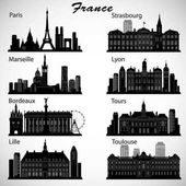 France cities skylines set Vector silhouettes