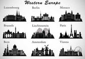 Western Europe Cities skylines set Vector silhouettes