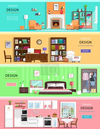 Illustration for Set of colorful vector interior design house rooms with furniture icons: living room, bedroom, kitchen and home office. Flat style vector illustration. - Royalty Free Image