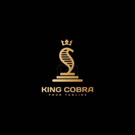 Illustration pour Modèle de logo de cobra roi doré design. Illustration vectorielle . - image libre de droit