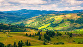 Panorama Carpathian mountain landscape with blue cloudy sky in summer