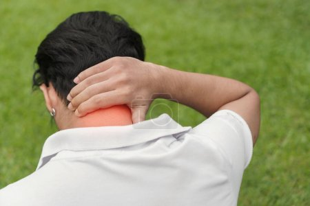Photo for Young man asian have accident Neck pain in sport exercise jogging,  Exercise and healthy concept, Selective focus - Royalty Free Image