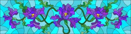 Illustration pour Illustration en vitrail avec des fleurs, des bourgeons et des feuilles d'iris sur fond bleu, l'orientation horizontale - image libre de droit