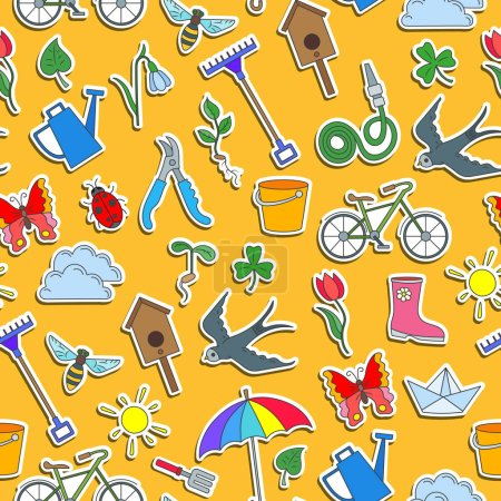 Seamless pattern with simple icons on a theme of spring , colored stickers on a orange background