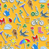 Seamless pattern with simple icons on a theme of spring  colored stickers on a orange background
