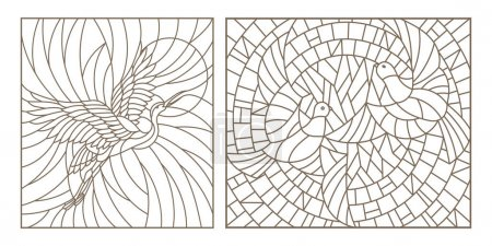 Illustration for Set contour illustrations of stained glass birds pair of pigeons and stork in the sky and the sun - Royalty Free Image