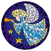 Illustration in stained glass style with an abstract angel in pink robe blowing pipe  round picture