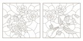 Set contour illustrations of stained glass with a sprig of orchids a butterfly and a Hummingbird a dark outline on a white background