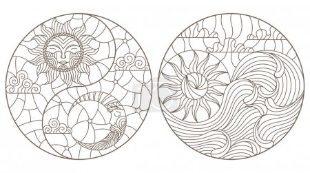 Photo pour Définir des illustrations de contour en vitrail paysage abstrait sous la forme d'un cercle, le soleil et la lune dans le ciel et le soleil et la mer, une image ronde sur fond blanc - image libre de droit