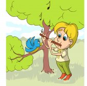 Happy Boy Playing On Flute a Glade Vector illustration