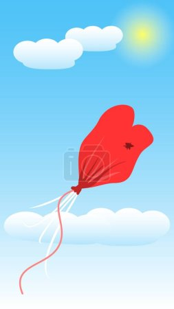 Illustration for Balloon Love Deflate Pop Sketch Line Art Illustration Vector - Royalty Free Image