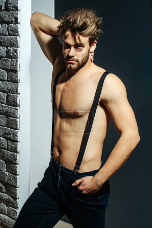 sexy muscular bearded man