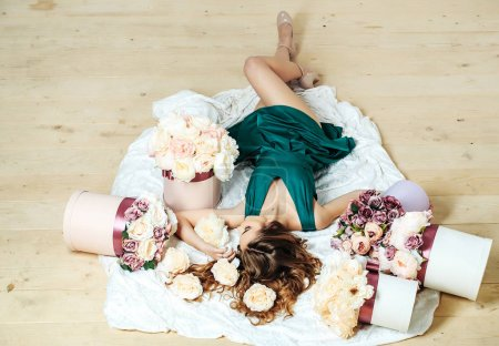 pretty girl in flowers bouquets