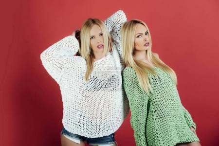 Twins pretty women or cute girls, fashionable mode...