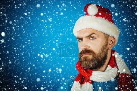 Christmas hipster with beard and moustache on frown face
