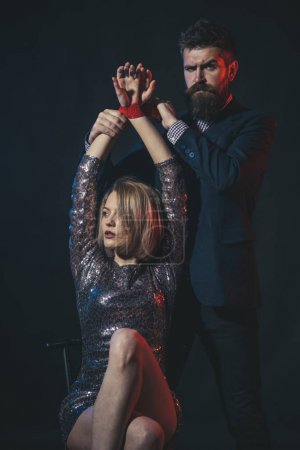 Couple in love on dark background. Man and woman