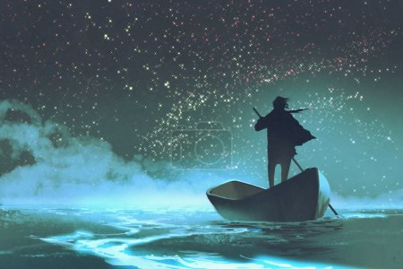 man rowing a boat in the sea under beautiful sky with stars