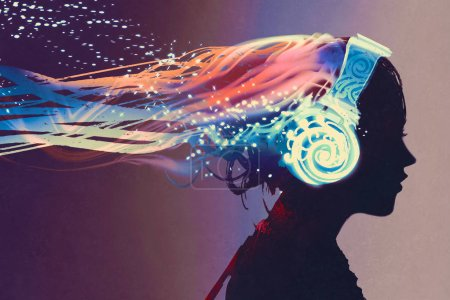 Photo for Woman with magic glowing headphones on dark background,illustration painting - Royalty Free Image